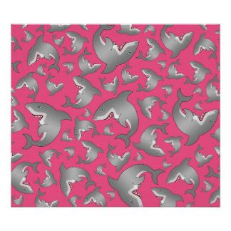 Pink shark pattern posters