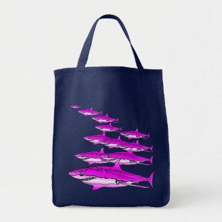 Pink Shark Shopping Tote Canvas Bag