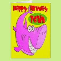 Pink Shark Sixteenth Birthday Card