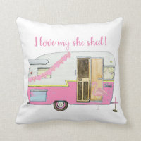 Pink She Shed Vintage Trailer Throw Pillow