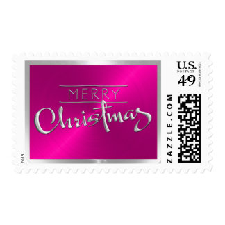 Pink Sheen with Merry Christmas Postage