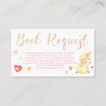 Pink Sheep Lamb Book Request Card for Baby Shower