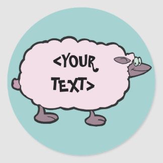 Pink Sheep, <YOUR TEXT> Classic Round Sticker