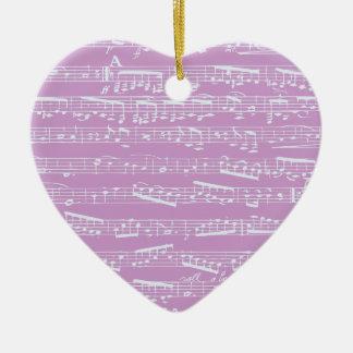 Pink Sheet Music Ceramic Ornament