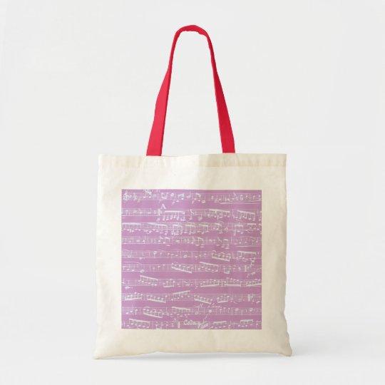 Pink Sheet Music Tote Bag