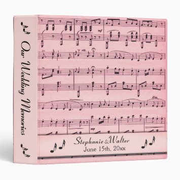 Pink Sheet Music Wedding Book 3 Ring Binder