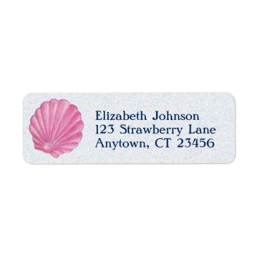 Beach Themed Pink Shell Beach Label