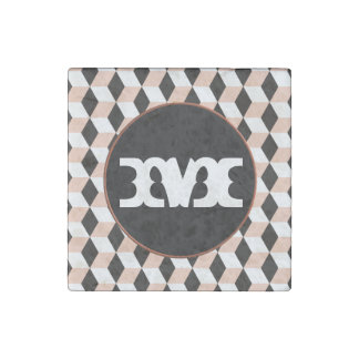 Pink shell, Black & White 3D Cubes Pattern Stone Magnet