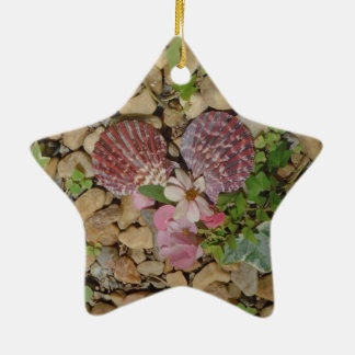 pink shells and flower heart ceramic ornament