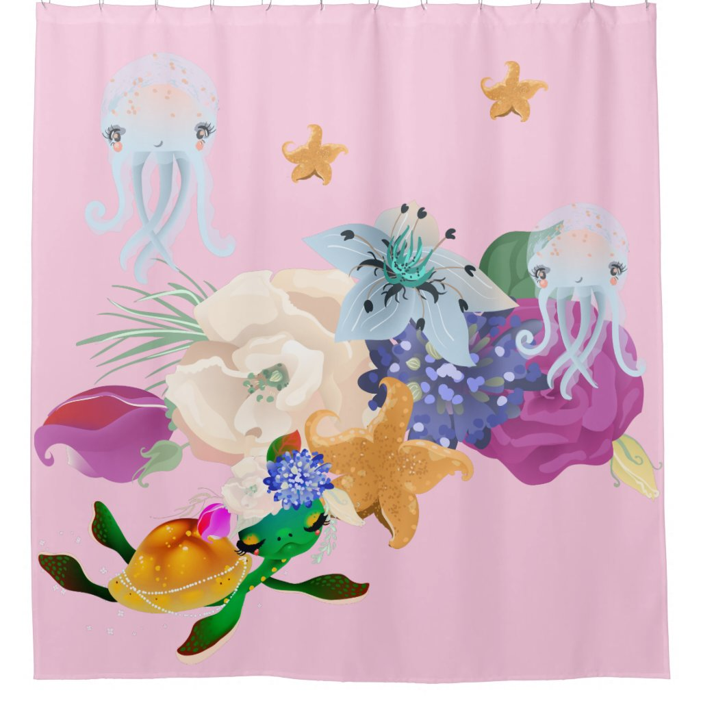 Pink Sherbet Jelly Fish Turtlle Shower Curtain