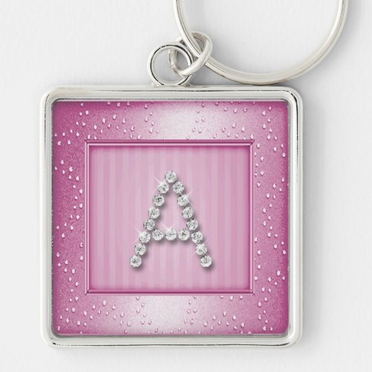 Pink Shimmer and Sparkle with Monogram Keychain