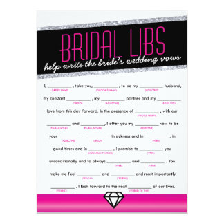 Pink Shimmer Bridal Libs Bachelorette Party Game 6.5x8.75 Paper Invitation Card
