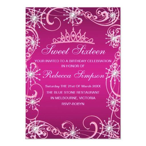 Pink Shimmer Snowflake Birthday Invite