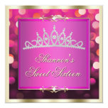 """Pink Shimmering Lights Bokeh Sweet Sixteen Invite 5.25"""" Square Invitation Card"""
