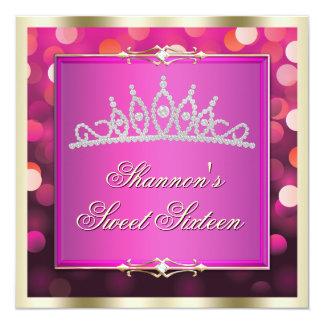 Pink Shimmering Lights Bokeh Sweet Sixteen Invite