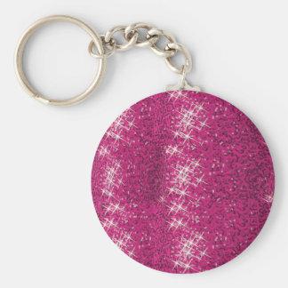 Pink SHINE Sparkle Background Keychain