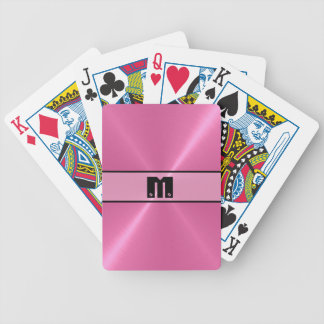 Pink Shiny Stainless Steel Metal 5 Bicycle Playing Cards