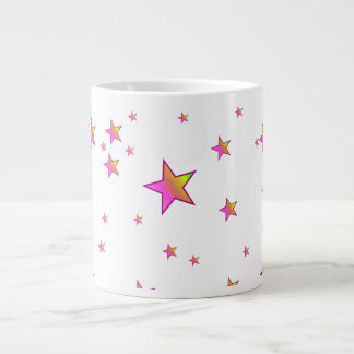Pink Shiny Stars Background Cover Giant Coffee Mug