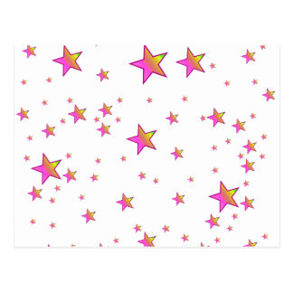 Pink Shiny Stars Background Cover Postcard