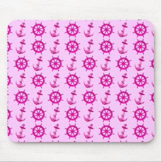 Pink Ships Wheel And Anchor Mouse Pad