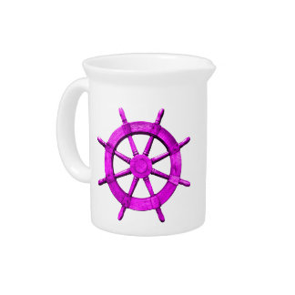 Pink Ships Wheel Drink Pitcher