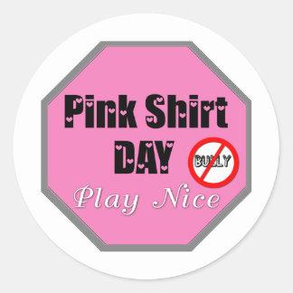 Pink Shirt Day Play Nice Classic Round Sticker