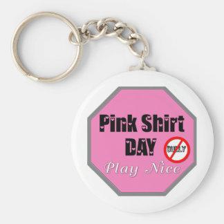Pink Shirt Day Play Nice Keychain