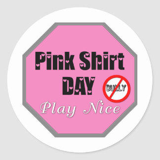 Pink Shirt Day Play Nice Round Sticker