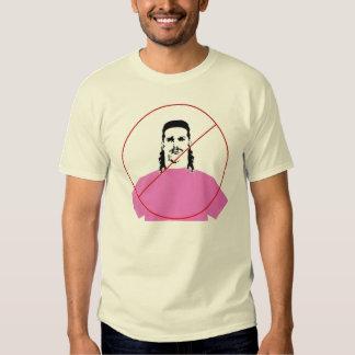 pink shirt ,long hair ,mustache