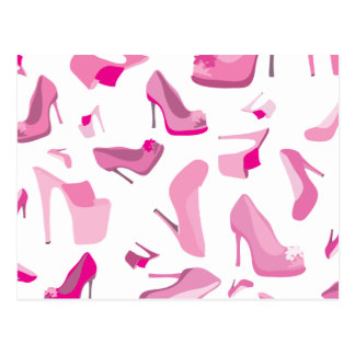 Pink shoe decorative pattern postcard