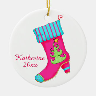 Pink Shoe Lover Christmas Stocking Art Name Double-Sided Ceramic Round Christmas Ornament