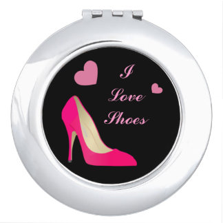 Pink Shoe Round Compact Mirror