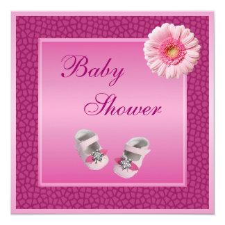 Pink Shoes Gerbera & Giraffe Print Baby Shower Announcements