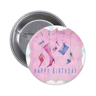 Pink Shoes Happy Birthday Pinback Button
