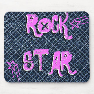 Pink Shooting Star Rock Star Mousepad