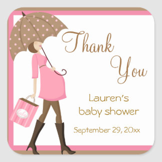 Pink Shopper Baby Shower Stickers