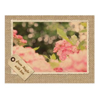 Pink Shrub Roses Bokeh Vintage Paper Frame Burlap Postcard