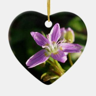 Pink Siberian Spring Beauty Ceramic Ornament