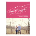 Pink Silent Night Christmas Photo Flat Cards