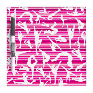 Pink Silhouette Cheer Dry Erase Board