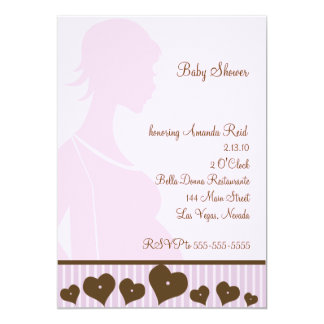 Pink Silhouette Mommy Baby Shower Invitation
