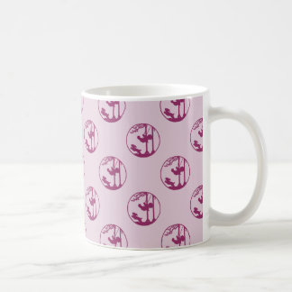 Pink Silhouette of Child Swinging with Dog Classic White Coffee Mug