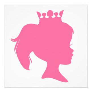 Pink Silhouette Princess T-shirts and Gifts Personalized Invites