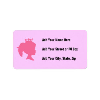 Pink Silhouette Princess T-shirts and Gifts Personalized Address Label