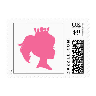 Pink Silhouette Princess T-shirts and Gifts Postage Stamp