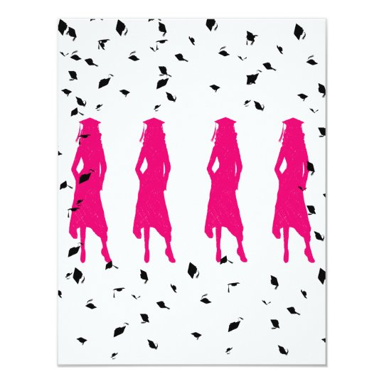 Pink Silhouettes Graduation Party Card