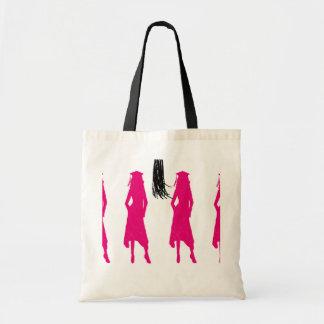Pink Silhouettes Tassle Graduation Tote Bag