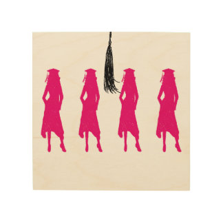 Pink Silhouettes Tassle Graduation Wood Canvases