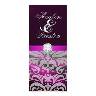 "Pink Silk Diamond Damask Wedding Invitation 4"" X 9.25"" Invitation Card"