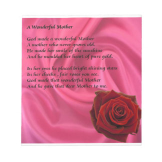 Pink Silk & Rose - Mother poem Notepad